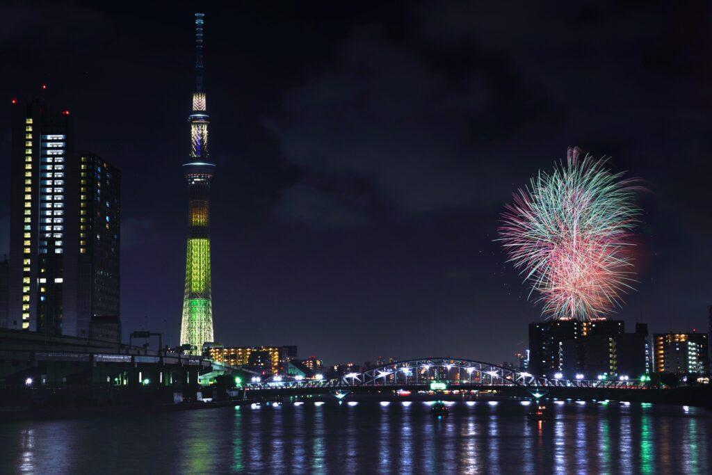 fireworks w tower